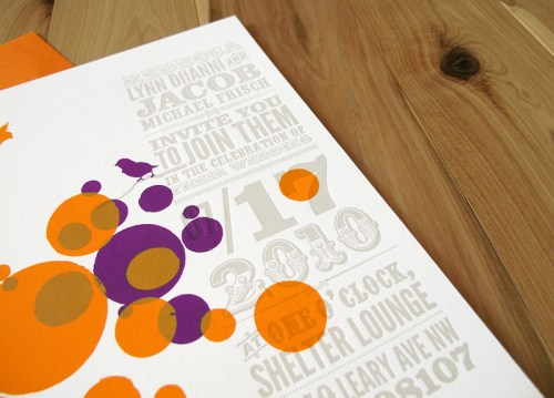 Orange Purple Letterpress Wedding Invitations2 500x359 Circus Poster Inspired Wedding Invitations