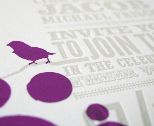 Orange Purple Letterpress Wedding Invitations3 500x412 Circus Poster Inspired Wedding Invitations