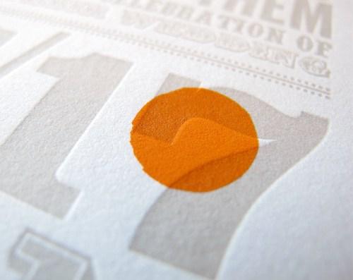 Orange Purple Letterpress Wedding Invitations4 500x397 Circus Poster Inspired Wedding Invitations