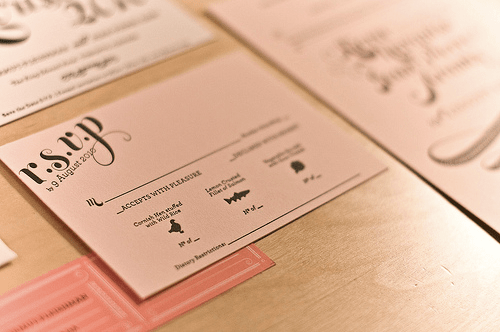 Pink Gold Letterpress Wedding Invitation RSVP Card Pink + Gold Wedding Invitations