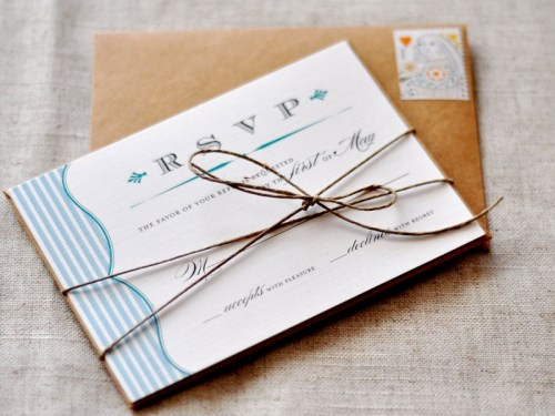 Rustic Blue White Stripe Wedding RSVP 500x375 Amber + Seans Rustic Wedding Invitations