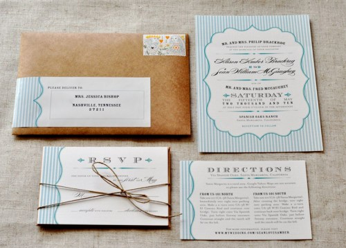 Rustic Blue White Wedding Invitations 500x358 Amber + Seans Rustic Wedding Invitations