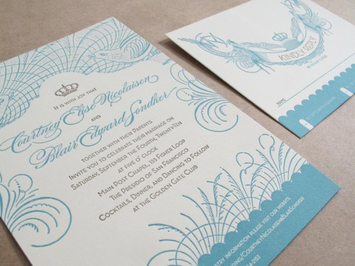 Vintage San Francisco Wedding Invitation with RSVP 500x375 Vintage Inspired San Francisco Wedding Invitations
