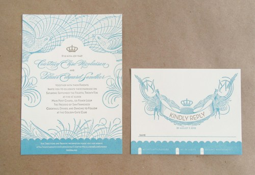 Vintage San Francisco Wedding Invitation2 500x343 Vintage Inspired San Francisco Wedding Invitations