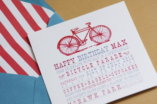 bicycle birthday party invitations 500x333 Vintage Bicycle Birthday Party Invitations