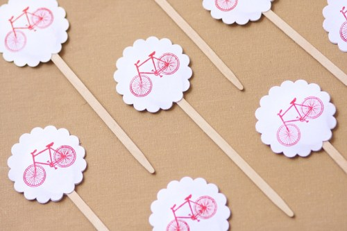 bicycle drink stirrers 500x333 Vintage Bicycle Birthday Party Invitations