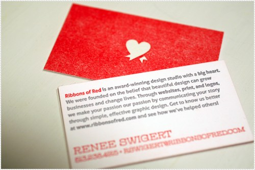 red letterpress business cards 500x333 Ribbons of Red