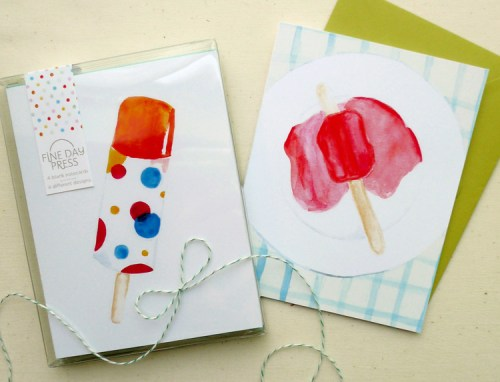 summer popsicle card 500x382 Watercolor Popsicle Cards