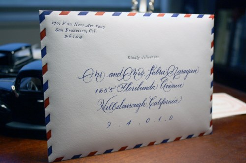 vintage travel airmail wedding invitation envelope calligraphy 500x331 Vintage Airmail Inspired Wedding Invitations