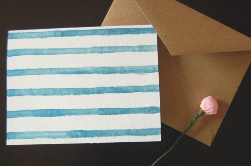 watercolor stripes card 500x332 Hand Painted Watercolor Stripes