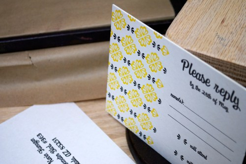 yellow black white letterpress wedding invitations rsvp 500x334 Mary + Kevins Modern Yellow and Black Letterpress Wedding Invitations