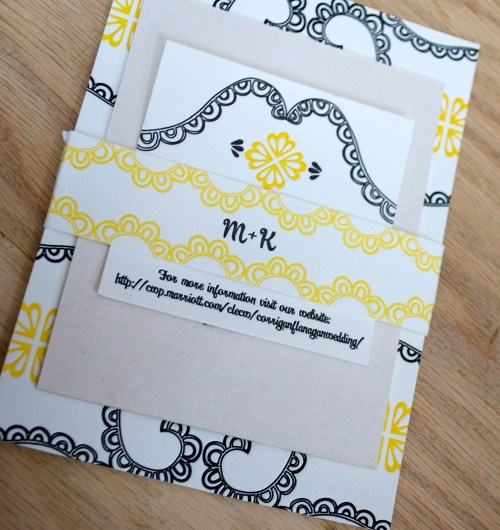 yellow black white letterpress wedding invitations suite 500x530 Mary + Kevins Modern Yellow and Black Letterpress Wedding Invitations