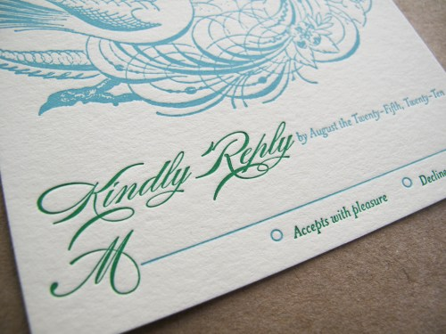 Aqua Emerald Wedding Invitations RSVP Text 500x375 Emerald + Aqua Wedding Invitations