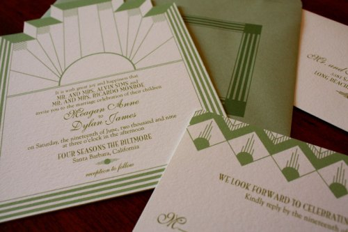 Art Deco Glam Wedding Invitations 500x333 Art Deco + Sea Coral Wedding Invitations