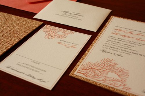 Coral Ocean Wedding Invitations 500x333 Art Deco + Sea Coral Wedding Invitations