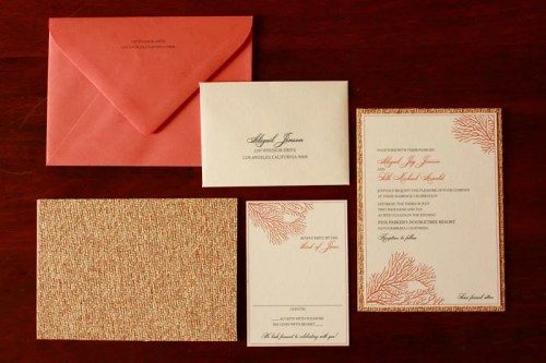 Coral Wedding Invitations 500x333 Art Deco + Sea Coral Wedding Invitations
