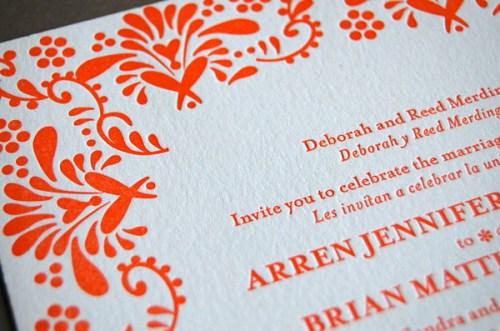 Pistachio Press Letterpress Wedding Invitations Mexican Tile3 500x331 Wedding Invitations   Pistachio Press