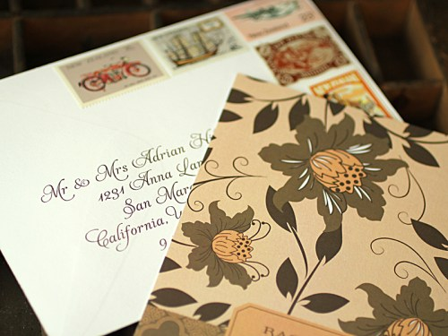 Rachelle Todd Vintage Garden Wedding Invitations 500x375 Rachelle + Todds Garden Inspired Wedding Invitations
