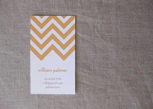 goldenrod chevron stripe calling cards 500x357 Chevron Stripe Calling Cards