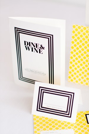 mitchell dent black white yellow honeycomb stripes wedding invitation menu 300x450 Wedding Invitations   Mitchell + Dent