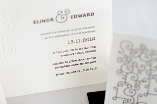 mitchell dent modern ampersand wedding invitation detail 500x333 Wedding Invitations   Mitchell + Dent
