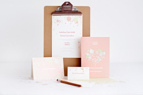 mitchell dent pink confetti wedding invitation 500x333 Wedding Invitations   Mitchell + Dent