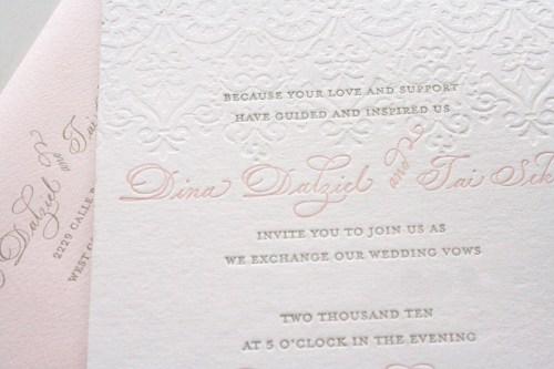 pink gray wedding invitation letterpress deboss 500x333 Romantic Pink + Gray Wedding Invitations