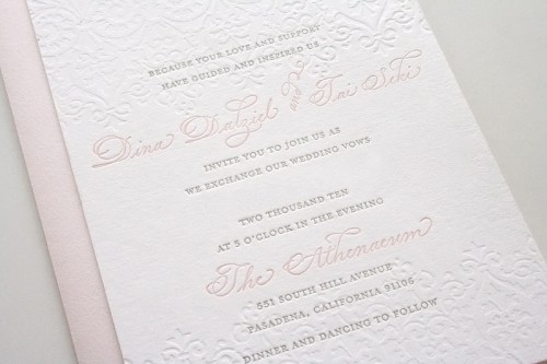pink gray wedding invitation 500x333 Romantic Pink + Gray Wedding Invitations