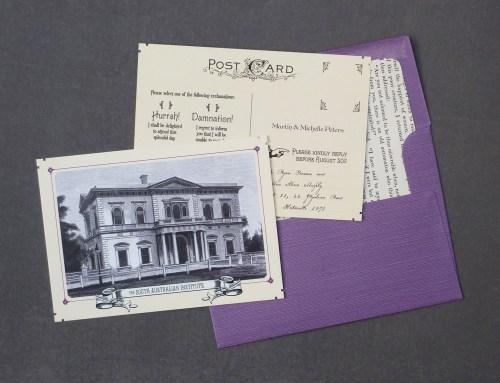 Akimbo Mortlock 5 500x383 Alicia + Ryans Victorian Library Wedding Invitations