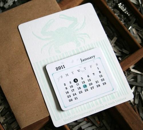 Blackbird Letterpress 2011 Calendar 500x453 2011 Calendar Round Up, Part 1