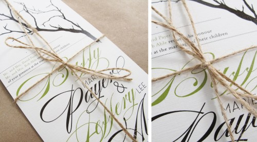 Branch Twine Wedding Invitations Detail 500x277 Buffy + Jeffs Twine, Cork, and Branch Wedding Invitations