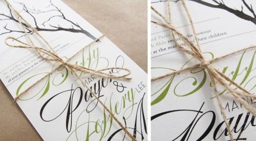 Branch Twine Wedding Invitations Detail 500x277 Buffy + Jeffs Twine, Cork, and Branch Wedding Invitations