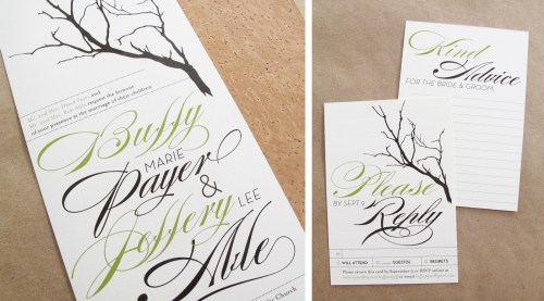 Branch Twine Wedding Invitations RSVP 500x277 Buffy + Jeffs Twine, Cork, and Branch Wedding Invitations