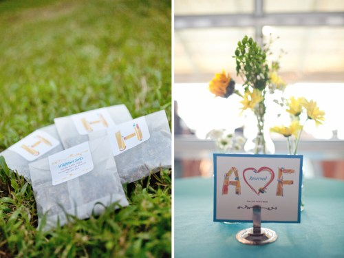 Modern Illustrated Wedding Invitations Favors Table Numbers 500x375 Amy + Forrests Modern Illustrated Wedding Invitations