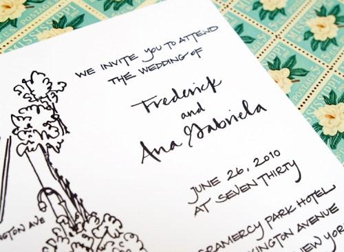 New York Black White Calligraphy Wedding Invitation Detail 500x367 Frederick + Anas Grammercy Park Wedding Invitations