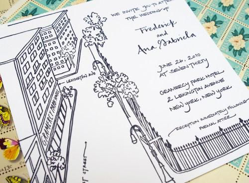 New York Black White Calligraphy Wedding Invitation3 500x367 Frederick + Anas Grammercy Park Wedding Invitations