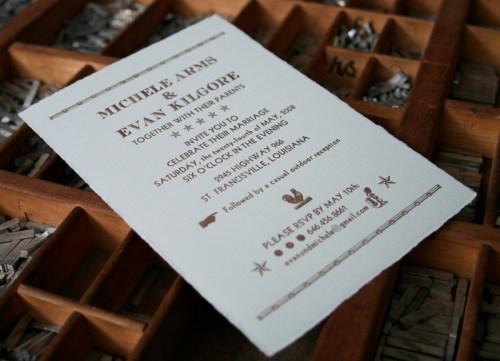 blackbird letterpress custom wedding invitations country 500x361 Wedding Invitations   Blackbird Letterpress