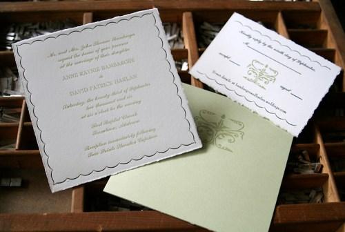 blackbird letterpress custom wedding invitations fleur de lis 500x336 Wedding Invitations   Blackbird Letterpress