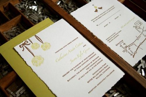 blackbird pomander 500x335 Wedding Invitations   Blackbird Letterpress