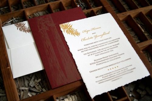 blackbird redwoods 500x333 Wedding Invitations   Blackbird Letterpress