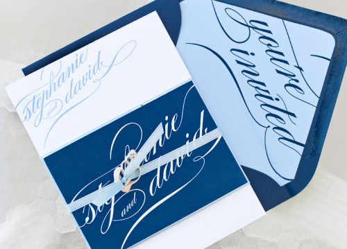 blue calligraphy wedding invitations envelope 500x359 Stephanie + Davids Nautical Wedding Invitations