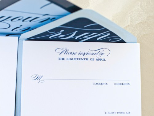 blue calligraphy wedding invitations rsvp detail 500x375 Stephanie + Davids Nautical Wedding Invitations