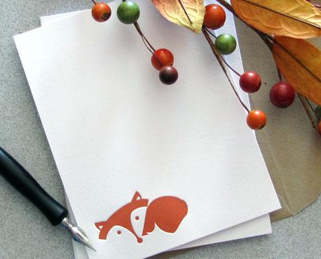 fox letterpress print Autumn Inspired Notecards