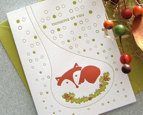 fox letterpress thank you Autumn Inspired Notecards