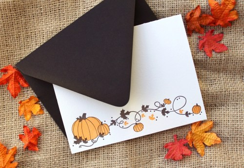 halloween pumpkins paper lovely 500x344 Seasonal Stationery: Halloween Cards and Invitations