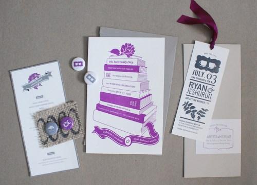 jeshurun wedding invitations coffee books full suite 500x361 Jeshurun + Ryans Book and Coffee Inspired Wedding Invitations