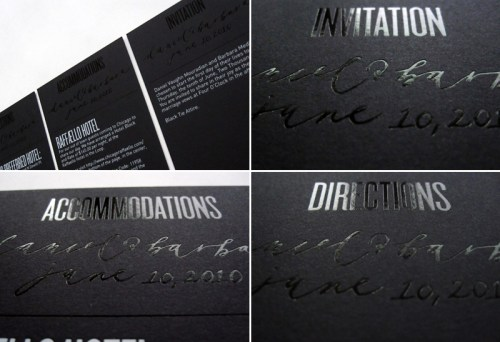 Black White Modern Wedding Invitations Detail 500x342 Modern Foil Stamp Wedding Invitations