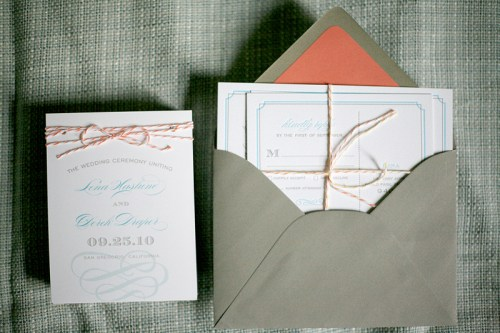 California Letterpress Wedding Invitations4 500x333 Lena and Dereks California Wedding Invitations
