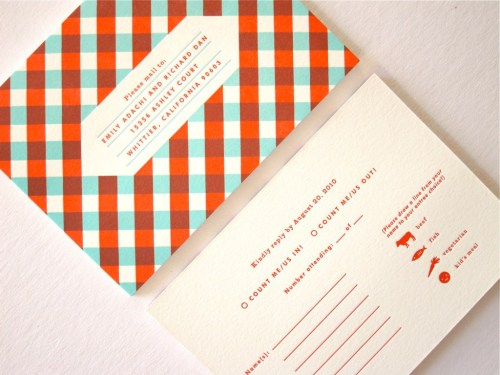 Indigo Bunting Emily Dan Mid Century Modern Wedding Invitations RSVP 500x375 Mid Century Modern Wedding Invitations