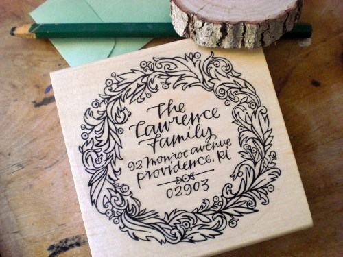 Primele Holiday Address Stamp 500x375 Holiday Calligraphy Stamp